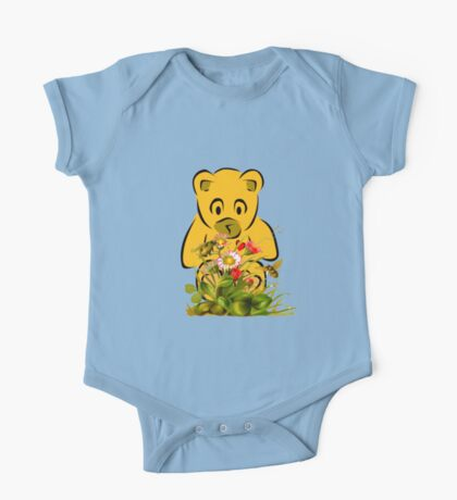 Teddy,Flowers and Bees...Tee One Piece - Short Sleeve