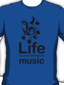 Music v Life - White T-Shirt