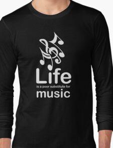 Music v Life - Carbon Fibre Finish Long Sleeve T-Shirt
