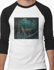 Bioluminescent dinosaur cave Men's Baseball ¾ T-Shirt