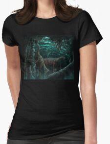 Bioluminescent dinosaur cave Womens Fitted T-Shirt
