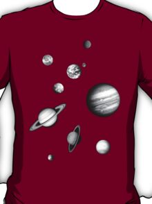 Black and White Solar System T-Shirt