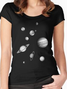 Black and White Solar System Women's Fitted Scoop T-Shirt