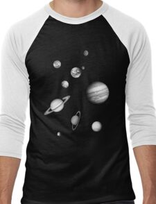 Black and White Solar System Men's Baseball ¾ T-Shirt