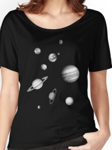 Black and White Solar System Women's Relaxed Fit T-Shirt