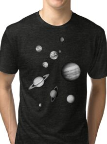 Black and White Solar System Tri-blend T-Shirt