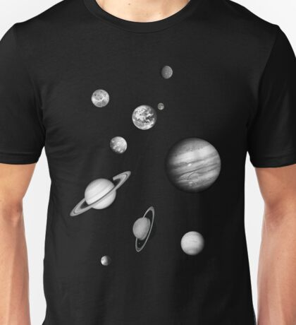 Black and White Solar System Unisex T-Shirt