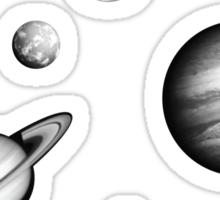 Black and White Solar System Sticker