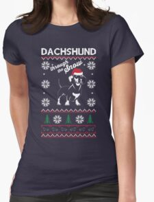 DACHSHUND THROUGH THE SNOW Womens Fitted T-Shirt