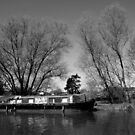 Old Narrow Boat in Black and White by Samantha Higgs