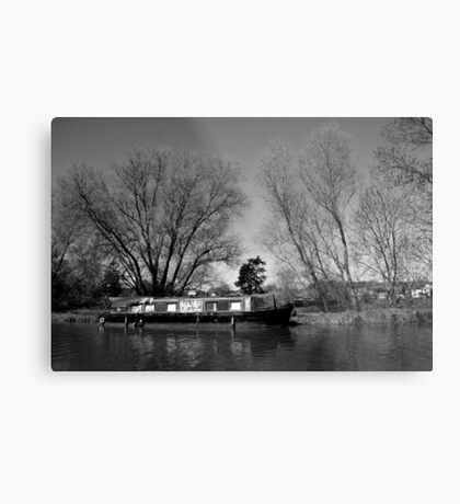 Old Narrow Boat in Black and White Metal Print