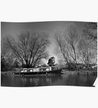 Old Narrow Boat in Black and White Poster
