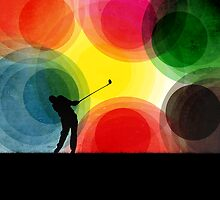 Colorful Retro Silhouette Golfer by perkinsdesigns