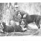 Dogs and owner in woods drawing by Mike Theuer