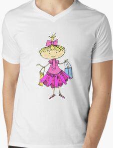 Pink girl Mens V-Neck T-Shirt