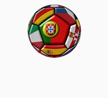 Soccer ball with flags - flag of Portugal in the center Unisex T-Shirt