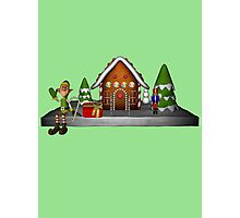 Boy Elf Gingerbread House Holiday  Photographic Print
