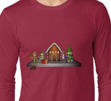 Boy Elf Gingerbread House Holiday  Long Sleeve T-Shirt