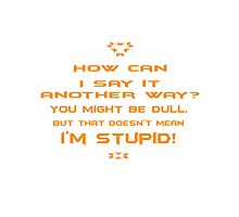 How can I say it another way? You might be dull, but that's doesn't mean I'm stupid! Photographic Print