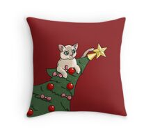 Cat In A Christmas Tree Throw Pillow