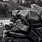 Dry stone wall in black and white by Paulmayfield