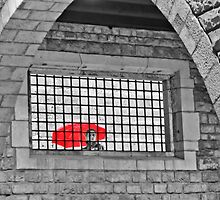 Red Brolly by Sue Knowles