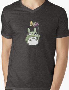 Totoro Flowers Mens V-Neck T-Shirt