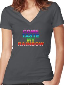 Come Taste My Rainbow Women's Fitted V-Neck T-Shirt