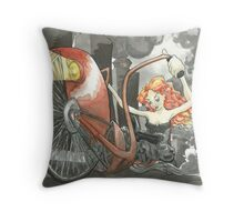 Steam Powered Penny Farthing Throw Pillow