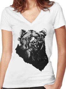 Bear Sketching Women's Fitted V-Neck T-Shirt