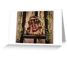 Colorful clay idol of Indian God Ganesha in a resting pose Greeting Card