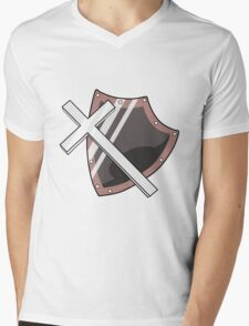 Cross and Shield Graphic Mens V-Neck T-Shirt