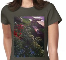 Bursting Flowers by Wooden Benches Womens Fitted T-Shirt