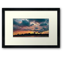Panorama of manhattan skyline in new york city at sunrise Framed Print