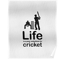 Cricket v Life - Carbon Fibre Finish Poster