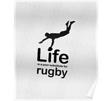 Rugby v Life - Black Graphic Poster