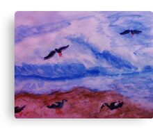 Waves and seagulls, watercolor Canvas Print