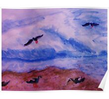 Waves and seagulls, watercolor Poster