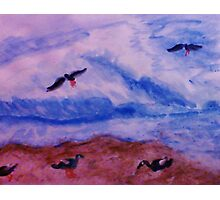 Waves and seagulls, watercolor Photographic Print