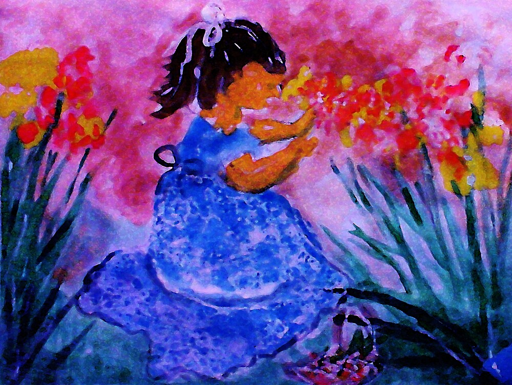 She found the flowers, watercolor by Anna  Lewis, blind artist