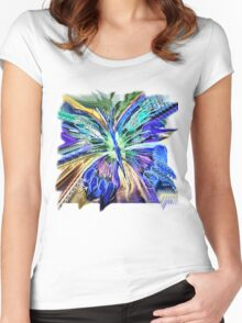 BUTTERFLY BLUE  TEE SHIRTS/BABY GROW/STICKERS Women's Fitted Scoop T-Shirt