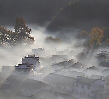 village in fog by houenying