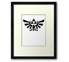 Zelda - Triforce (Black) Framed Print