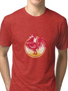 Rooster Cockerel Crowing Retro Tri-blend T-Shirt