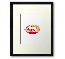 Rhinoceros Charging Side Retro Framed Print
