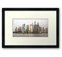 Shanghai cityscape with ocean liner Framed Print
