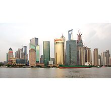 Shanghai cityscape with ocean liner Photographic Print