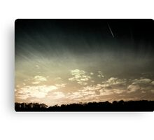 Colourized sunset with jet plane Canvas Print
