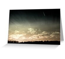 Colourized sunset with jet plane Greeting Card