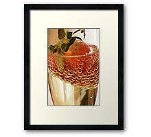 Strawberry and bubbles in sparkling wine Framed Print